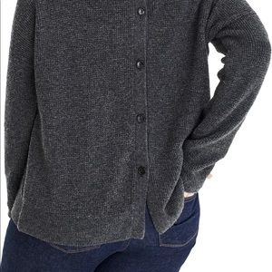 JCrew Point Sur Button Back Waffle Sweater